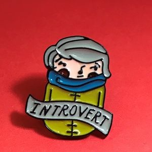 "Jewelry - ""Introvert"" Enamel Pin, Brooch, Tie Tack"